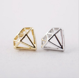 18 k gold and silver fashion protrusion diamond stud earrings lovely shape using bolt Brincos earrings women selling