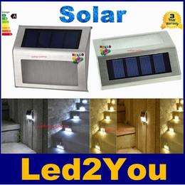 Luces led solar led solar en Línea-Alto Brillante Impermeable LED Solar Luz Impermeable 2Leds Escaleras solares luz Jardín luces al aire libre paisaje césped lámpara Lámparas de pared solar
