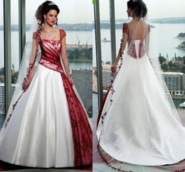 Wholesale Sexy Cream Gown - Vintage Cream And Burgundy A-line Wedding Dresses 2016 Square Cap Sleeve Court Train Lace-up Country Garden Gothic Wedding Gowns