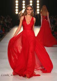 Free Shipping Sexy Red Evening Dresses Designer Deep V Neck Long Chiffon Evening Gowns Vestidos De Fiesta