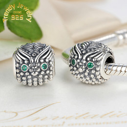 Wholesale Authentic S925 Sterling Silver Beads Wise Owl With Dark Green CZ Diamond Bead For European Jewelry Charm Bracelets New Style