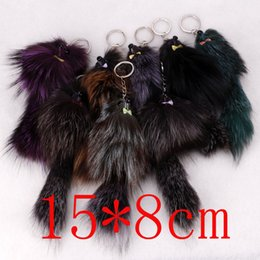 hot wholesale Fox Fur Tail mouse Keychain Fox Tail Tassel Bag Handbag Pendant fashion Accessory key rings free shipping