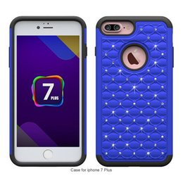 Bling Diamond Hybrid Armor Defender Cases for iPhone 7 Plus 7Plus Studded Rhinestone Slim 2 in 1 Silicone PC Hard Back Cases Covers