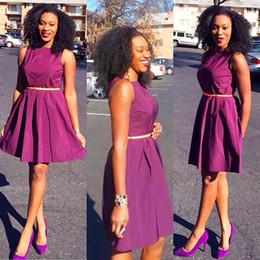 2016 Purple Short Party Cocktail Dresses Bateau Neckline Taffeta Back Zipper Belt Formal Prom Party Gowns
