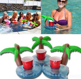 Wholesale Inflatable Drink Can Holder Floating Palm Island Tree Coasters Drink Holder Pool Floating Bar Drink Holder Pool Bath Toys