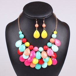 Wholesale Candy Color Statement Necklaces Earrings Women Lady Fashion Water Drop Shape Chokers Party High Quality Jewelry Set Valentine Gift Colors