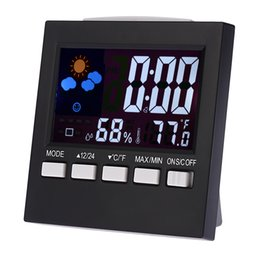 Wholesale Multi functional Digital Colorful LCD Thermometer Hygrometer Clock Alarm Snooze Function Calendar Weather Forecast Display Free DHL E1692