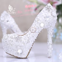 women pumps shoes Snow white shoes white pearl diamond flower wedding shoes high-heeled shoes dress super waterproof shoes shoes women high