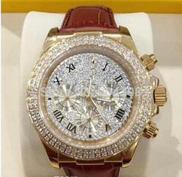 Wr s en Línea-NUEVO 2015 HOT- el nuevo oro de lujo 18k Rose del diamante pavimenta el dial 116509 del diamante El deporte Wr de los hombres automáticos de la correa de cuero del reloj del Mens