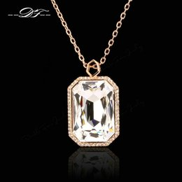 Luxury Imotation Crystal Exaggerated Necklaces & Pendant for Women Party Wedding 18K Gold Plated Jewelry Rectangle imitation Gemstone DFN502