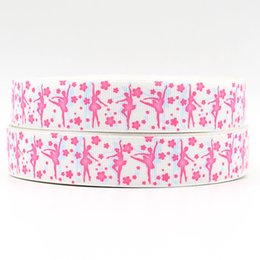 Wholesale ribbon inch mm Ballet girl with pink flower printed grosgrain ribbon yards roll headband