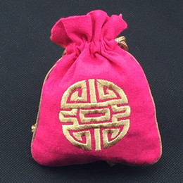 Small Large Cotton Linen Jewelry Pouch Gift Bags Chinese style Embroidered Joyous Decorative Craft Packaging Bag Lavender Sachet Pack
