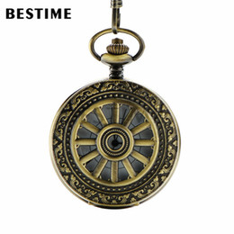 Wholesale BESTIME Watch Arabic and Roman Numerals Antique Bronze Hollow Wheel Quartz Pocket Watch Chain Value Quality