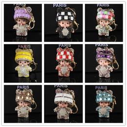Wholesale Handmade Monchichi Keychain Rhinestone Bag Accessories kiki Key chains Car porte cle Key ring