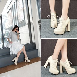 2015 Autumn And Winter Thick With Lace Up High-heeled Women's Platforms Shoes Pumps On Sale Beige Black