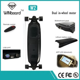 Wholesale Winboard w dual hub motor ply imported canadian maple wood bluetooth wireless remote powered longboard electric skateboard
