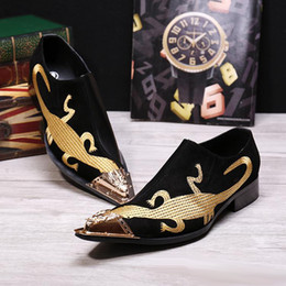 Remiendo Estilo italiano del cuero genuino de los hombres Alpargatas punta estrecha fiesta zapatos formales de