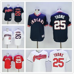 Wholesale Jim Thome Jersey White Turn Back Red Pullover Blue Flexbase Cleveland Indians Jerseys Stitched