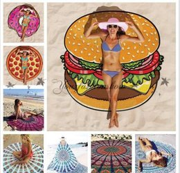Wholesale Swimsuit Cover Up Towel - Fancy Round Large Beach Towel Mat Swimsuit Cover Up Swim Towel Bathing Suit Cover-ups Sexy Shawl Lie On Donut Pizza Hamburger M22