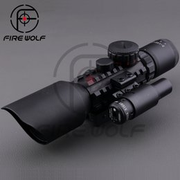 Wholesale 3 X42 E M9 C Mil Dot Hunting Shooting Riflescope Airsoft Air Gun Rifle Scope With Red Laser Sight