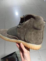 Wholesale 2016 Nuevo KANYE WESTBoost zapatos de la moda del Mens de Brown