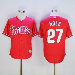 Wholesale Cheap Sale Mix Order Cheap Philadelphia Phillies Jerseys Cool Base Mens Aaron Nola Red Baseball Jersey
