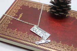 Wholesale fashion jewelry antique silver plated Supernatural Dean of the License Plate Truck Car charm pendant necklace