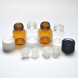 Wholesale Mini ml Amber Glass Bottle Essential Oil Perfume Sample Tubes With Plug And Caps Clear Vials