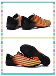 Wholesale New Product Men s Mercurial Victory V TF boots Red Black Yellow Stripe Football Soccer Boots Sneakers Running Shoes