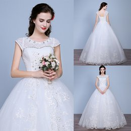 Wholesale Korea Style Lace Wedding Dresses Organza Nobel Princess Bridal Ball Gown Beaded Real Image Floor Length Wedding Gowns YL
