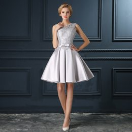 Pretty Silver Gray Short Prom Dresses 2016 Lace Draped Satin Knee Length Cheap Party Gowns In Stock Cocktail Dresses For Women