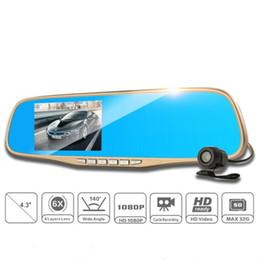 Cámaras de guión recuadro negro en venta-2016 Nuevo 4.3inch coche Dvr lente dual Full HD 1080p espejo retrovisor coche cámara de estacionamiento Video Recorder Dash cámara vehículo negro