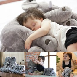 Wholesale 5 color elephant pillow baby doll children sleep pillow birthday gift INS Lumbar Pillow Long Nose Elephant Doll Soft Plush