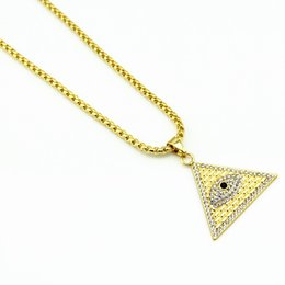 New Fashion Gold Plated Pyramid Charm Triangle Shape Lucky Evil Eyes Long necklace jewelry Hip Hop Pendants&Necklaces For women and men