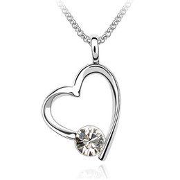 Europe and Usa Big Fashion Choker Designer Jewelry Heart Pendant Crystal Necklaces For Women 18K White Gold Plated 703