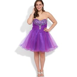 Robe de conception de cristal courte en Ligne-2017 Sweety design court Plus Size Homecoming personnalisé Robes Robes chérie Strass perlée Tulle Party Made