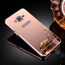 Wholesale-For Galaxy G530 Mirror Case for Samsung Galaxy G530 G530H Luxury Phone Metal Frame for Samsung Galaxy Grand Prime Mirror Bumper