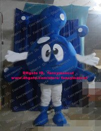 Wholesale Dramatic Blue Molecule Molecular Ion Atom Dust Dirt Mote Particle Particulate Corpuscle Mascot Costume Cartoon Character ZZ1128