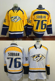 Wholesale 76 P K Subban New Arrivals Men Nashville Predators Yellow White Ice Hockey NHL Stitched Jerseys Free Drop Shipping lymmia Mix Order