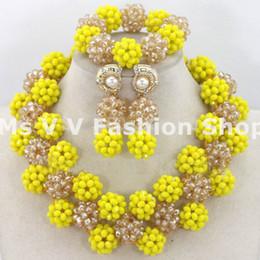 2019 new design Handmade African Beads Jewelry Set Yellow gold Rhinestone Necklace Set Nigerian Wedding Jewelry Set Free Shipping