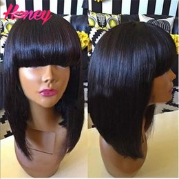 Brazilian Virgin Full Lace Human Hair Wigs With Bangs Glueless Full Lace Wigs Straight Full Lace Human Hair Wigs For Black Women