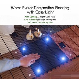 Wholesale Wood Plastic Composite Flooring with Solar Light Outdoor Garden Balcony Interlocking Decking Tile Perfect Decor