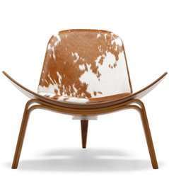 Wholesale Hans J Wegner three leged plywood chair with genuine leather cushion or PU cushion cow cushion modern living room furniture puran furniture