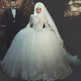 Wholesale China Gowns Online - Long Sleeve Princess Islamic Muslim Wedding Dress Ball Gown Wedding Dresses Lace Appliqued china online store Vestido de noiva