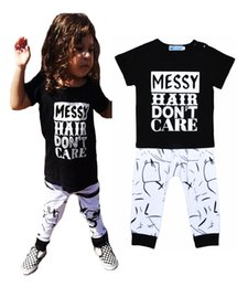 Wholesale Retail Brand Baby Girl Clothing Set Summer MESSY Hair Don t Care Letter Short Sleeve T shirt Harem Pants Boy Sets Kids Clothes