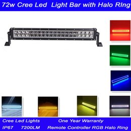 72w 14 inch Cree Led Light Bar with Remote Controller RGB Halo Ring Color Changing Led Light Bar for Off-road SUV Boat 4x4 Jeep Lamp