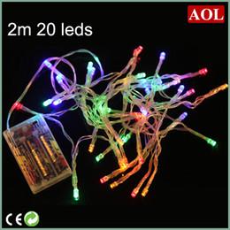 Luces de hadas blancas con pilas en Línea-3xAA batería 2m 20 MINI cadena de LED Luz de energía de la batería OPERATED blanco / caliente / azul / rojo / amarillo / verde / rosa / Purply / multi-color de blanco