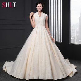 Wholesale 2017 V neck Appliques A line Cap Sleeve Zipper Wedding Dress can be customized welcome to our shop
