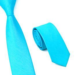 Blue Color Business Party Slim Norrow Tie For Men 6cm Casual Arrow Skinny Satin Necktie Fashion Man Accessories Neckwear E-020