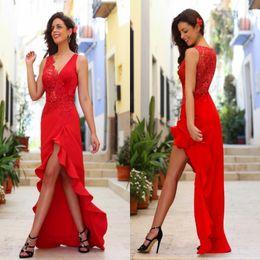 2017 robe formelle bas dos rouge 2017 New Red Sexy V Neck Haut Bas Robes de bal Tulle Appliques dentelle Ruffles Sheer Retour robes de soirée formelle Robes de soirée de bal de BA2958 promotion robe formelle bas dos rouge